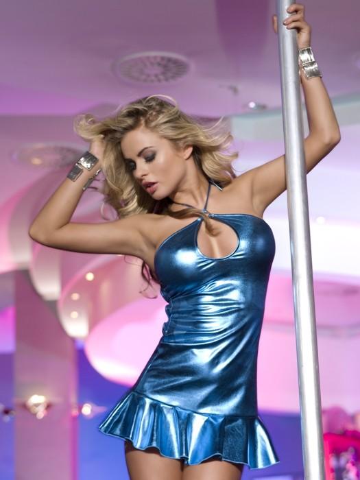 Платье с открытой спиной синее