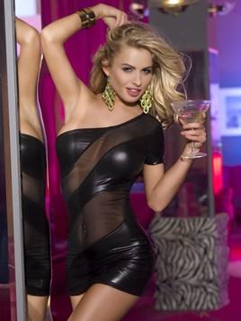 Клубное платье с открытым плечом черное