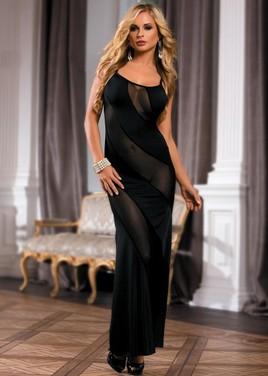 Длинное платье с диагональными прозрачными полосами черное